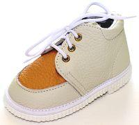 První krůčky Detské kožené topánočky - slonová kosť / pomarančová, EUR 18