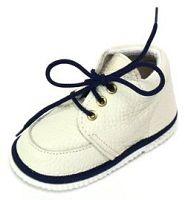 První krůčky Detské kožené topánočky - slonová kosť / tmavo modrá, EUR 21
