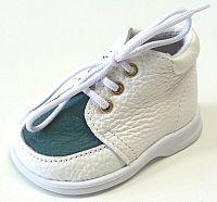 První krůčky Detské kožené topánočky TR - biela / tmavo zelený priehlavok, EUR 21