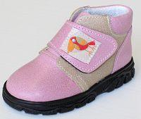 První krůčky Dievčenské kožené celoročné topánky Kos - svetlo ružová / svetlo hnedá, EUR 20