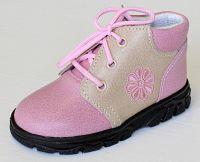 První krůčky Dievčenské kožené celoročné topánky Kvetinka- svetlo ružová / svetlo hnedá, EUR 25