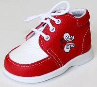 První krůčky Dievčenské kožené topánočky Motýlik TR - červená / biely priehlavok, EUR 20