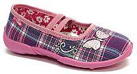 Ren But Dievčenské kockované papučky s motýlikom - fialovo-ružové, EUR 35