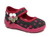 Ren But Dievčenské papučky s hviezdičkami a kytičkou - ružovo-čierne, EUR 22