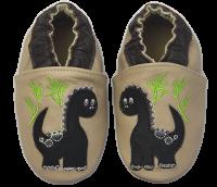 Rose et Chocolate Chlapčenské topánočky s dinosaurom Classicz, krémové
