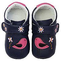 Rose et Chocolate Dievčenské topánočky pre prvé krôčiky s vtáčikmi MiniZ, tmavo modré