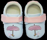 Rose et Chocolate Dievčenské topánočky s vtáčikom Miniz, svetlo modré