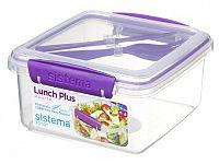 Sistema Box na obed s príborom, 1,2 l - fialový