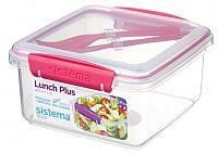 Sistema Box na obed s príborom, 1,2 l - ružový