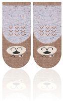 STEVEN Detské ponožky s medvedíkom - hnedo-šedé, 0-3 měsíce