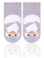 STEVEN Detské ponožky s tučniakom - šedé, 0-3 měsíce