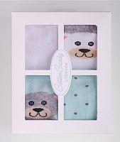 STEVEN Súprava detských ponožiek s medvedíkmi 4 páry - zelené a biele, 6-12 měsíců