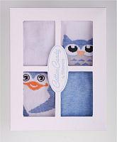 STEVEN Súprava detských ponožiek s tučniakmi a sovami 4 páry - modré a biele, 6-12 měsíců