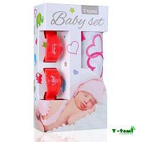 T-tomi Baby súprava - bambusová osuška srdiečka + kočíkový štipček červený