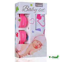 T-tomi Baby súprava - bambusová osuška srdiečka + kočíkový štipček ružový