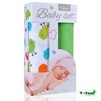 T-tomi Baby súprava - bambusová osuška vtáčiky + bambusová osuška zelená