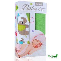T-tomi Baby súprava- bambusová osuška zelené slony + bambusová osuška zelená