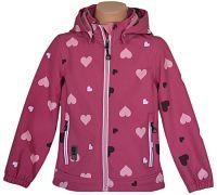 Topo Dievčenská outdoorová bunda so srdiečkami - ružová, 128 cm