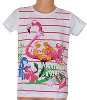 Topo Dievčenské pruhované tričko s plameniakmi - biele, 122 cm
