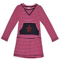 Topo Dievčenské prúžkované šaty s kapucňou - ružové, 128 cm