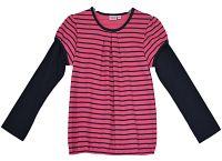 Topo Dievčenské prúžkované tričko - ružovo-čierne, 110 cm