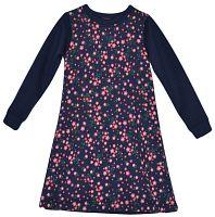 Topo Dievčenské šaty s kvetmi - modré, 134 cm