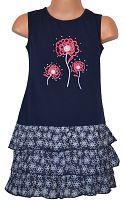 Topo Dievčenské šaty s volánikmi - tmavo modré, 98 cm