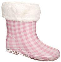 Trespass Dievčenské zateplené kockované gumáky Pitter - ružovo-biele, EUR 25