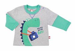 2be3 Chlapčenské tričko s dinosaurom - šedo-zelené, 62 cm