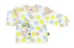 2be3 Dievčenské bodkované tričko s veveričkou - svetlo oranžové, 68 cm