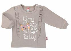 2be3 Dievčenské tričko s volánikmi - hnedé, 68 cm