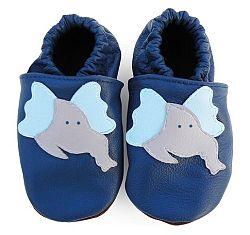 Afelo Chlapčenské kožené topánočky Sloník - modré