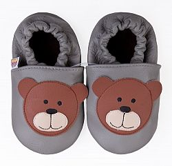 Afelo Detské kožené topánočky Macko - šedé