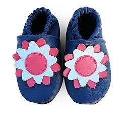 Afelo Dievčenské kožené topánočky Kytička - modré
