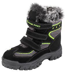 ALPINE PRO Detská zimná obuv Flea - žlto-čierne, EUR 30
