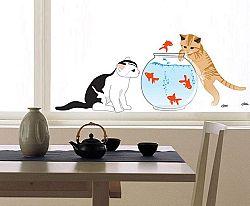 Ambiance Dekoračné samolepky - mačky a akvárko