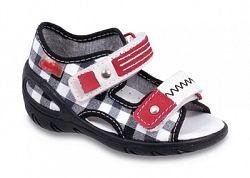 Befado Chlapčenské kockované sandále Sunny - čierno-biele, EUR 22