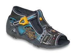 Befado Chlapčenské papučky s potlačou Snake - šedo-modré, EUR 22