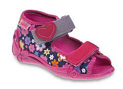 Befado Dievčenské kvetované papučky Papi - ružovo-modré, EUR 22