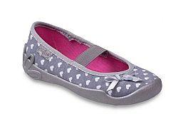 Befado Dievčenské papučky so srdiečkami a mašľou - šedé, EUR 28
