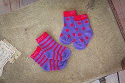 Blade & Rose Dievčenské ponožky s prúžkami a bodkami - fialové, 104 cm