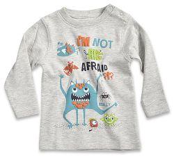 Blue Seven Chlapčenské tričko Im not afraid - šedé, 62 cm