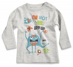 Blue Seven Chlapčenské tričko Im not afraid - šedé, 80 cm
