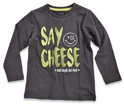 Blue Seven Chlapčenské tričko Say cheese - tmavo šedé, 104 cm