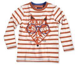 Blue Seven Detské prúžkované tričko s líškou - oranžovo-biele, 92 cm