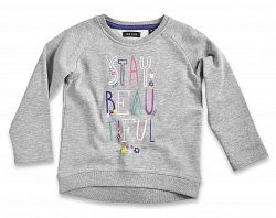 Blue Seven Dievčenská mikina Stay beautiful - šedá, 110 cm
