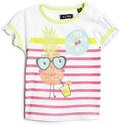 Blue Seven Dievčenské pruhované tričko s ananásom - biele, 80 cm