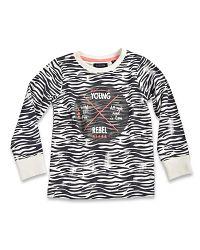 Blue Seven Dievčenské rebrované tričko s obrázkom - bielo-čierne, 122 cm