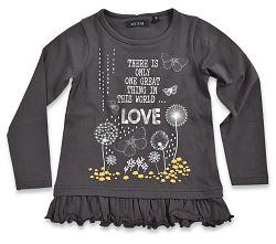 Blue Seven Dievčenské tričko Love s volánmi - tmavo šedé, 92 cm