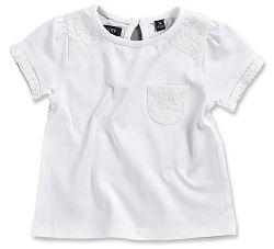 Blue Seven Dievčenské tričko s čipkou - biele, 62 cm